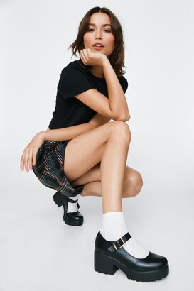 Nasty Gal Womens Shoe Are You Faux Leather Mary Jane Shoes - Black - 5