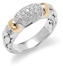 Effy Diamond, 18K Yellow Gold & Sterling Silver Ring