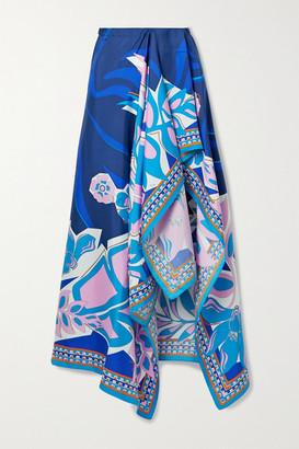 Emilio Pucci Samoa Printed Silk-satin Pareo - Blue