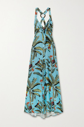 PatBO Printed Voile Halterneck Maxi Dress - Light blue