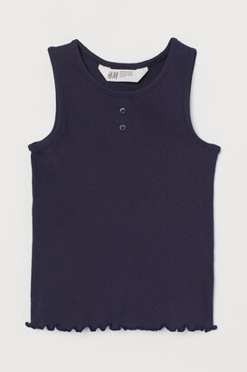 H&M Ribbed Cotton Tank Top - Blue