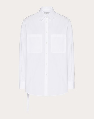 Valentino Long-sleeved Cotton Shirt With Open Side And Tie Man Optic White Cotton 100% 37