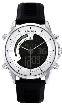 Kenneth Cole Reaction Men's Analog Digital Display Silvertone Case Silvertone Dial Black Silicon Strap Watch, 44 mm Case RK50815006