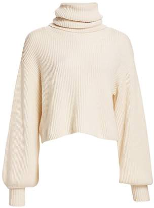 The Kooples Ribbed Balloon-Sleeve Turtleneck Sweater