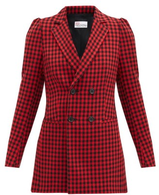 RED Valentino Double-breasted Houndstooth Jacket - Red