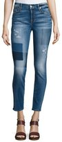 7 For All Mankind The Ankle Skinny Patch Distressed Jeans, Blue