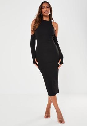 Missguided Black Rib Cold Shoulder Midaxi Dress