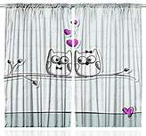 SCOCICI Valentines Day Owls Decorations Cute Couple Sitting on Tree Branch Love Art Romantic Funny Drawing Sweet Small Birds Hearts Design for Bedroom Living Kids Room Curtain 2 Panels Set Gray Black Fuchsia