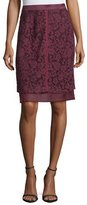 J. Mendel Lace-Overlay Pencil Skirt, Vin