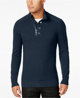 INC International Concepts Men's Bankman Quarter-Zip Eyelet Sweater, Only at Macy's
