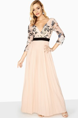 Little Mistress Luna Embroidered Pleated Maxi Dress