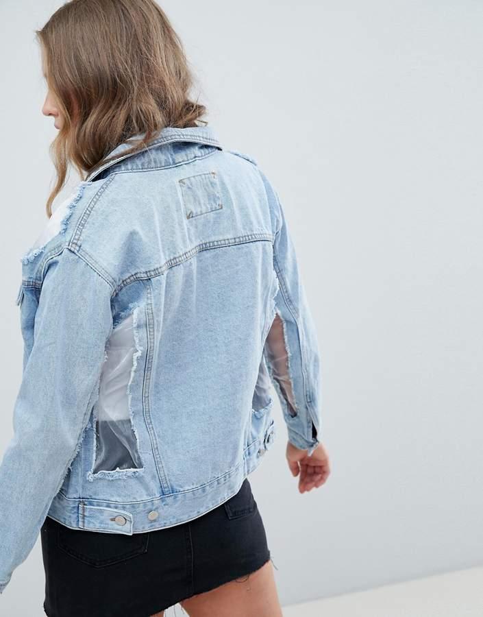 Pull&Bear Mesh Detail Denim Jacket