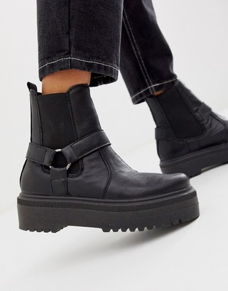 ASOS DESIGN Audio chunky harness chelsea boots in black