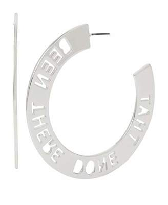BCBGeneration BCBG Generation Women's Been There Done That Affirmation Cut-Out Large Hoop Earrings