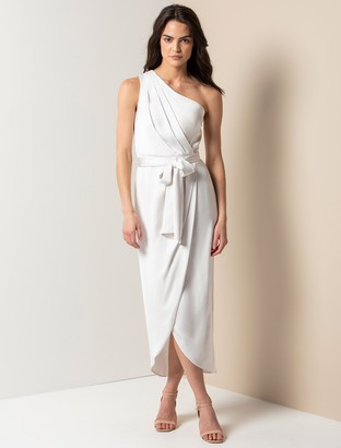 Forever New Chloe One-Shoulder Midi Dress - Ivory - 10
