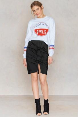 NA-KD Mid Length Frill Skirt Black