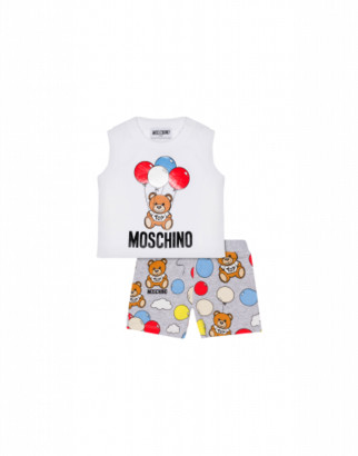 Moschino Balloons Teddy Bear Tank Top And Shorts Combination Unisex White Size 3/6m It