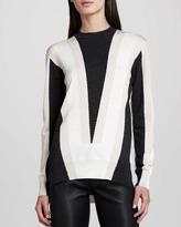 ADAM by Adam Lippes Intarsia-Knit Sweater, Gray/Blush/Ivory