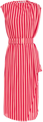 Emilia Wickstead January Belted Striped Crepe Midi Dress