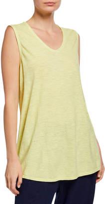 Eileen Fisher Organic Cotton Twist Soft V-Neck Long Shell