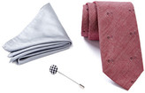 Ben Sherman Squares Tie, Solid Pocket Square, & Lapel Pin Box Set