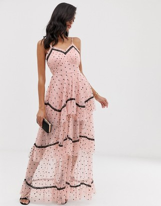 Lace & Beads tiered maxi dress in spot mesh with black contrast piping