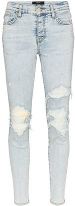 Amiri Tie-Dye Knee Patch Skinny Jeans