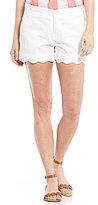 Lauren James Scalloped Hem Poplin Shorts