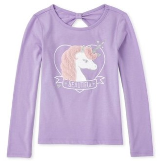 The Children's Place Girls 4-14 3D Fur Unicorn Long Sleeve T-Shirt