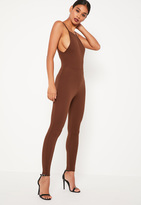 Missguided Brown Crepe Low Back Ankle Grazer Romper