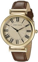 Anne Klein Women's AK/2136CRBN Gold-Tone and Brown Leather Strap Watch