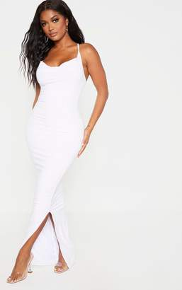 PrettyLittleThing Shape White Slinky Cowl Neck Maxi Dress