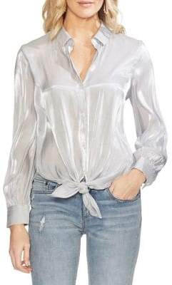 Vince Camuto Oasis Bloom Iridescent GGT Tie-Front Button-Down Shirt