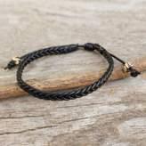 Braided Black Leather Mens Bracelet, 'Single Black Braid'