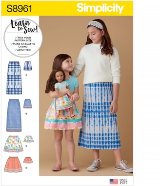 Simplicity Children's and Doll Skirt Sewing Pattern, 8961