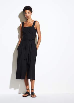 Belted Wide Strap Linen Dress