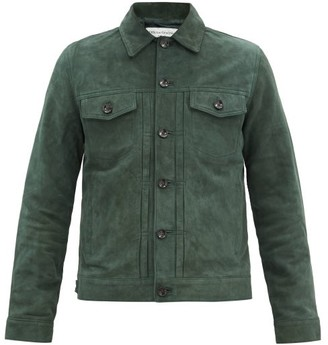 Officine Generale Liam Suede Jacket - Dark Green