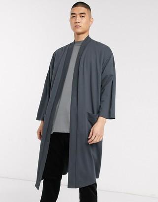 ASOS DESIGN lightweight jersey longline kimono cardigan in washed black