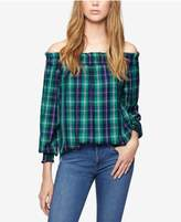 Sanctuary Plaid Off-The-Shoulder Top