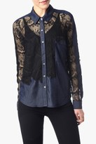 7 For All Mankind Mixed Media Lace Top