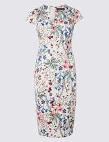 Marks and Spencer PETITE Floral Print Bodycon Midi Dress