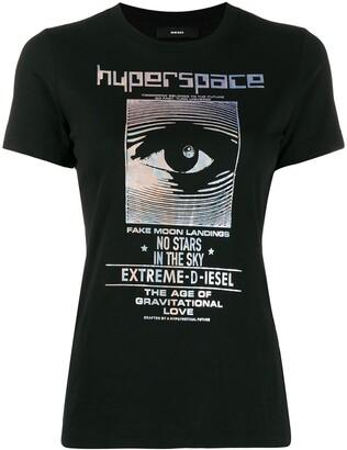 Diesel iridescent foil print T-shirt