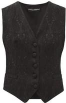 Dolce & Gabbana Floral-jacquard Crepe Waistcoat - Womens - Black