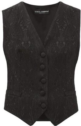 Dolce & Gabbana Floral-jacquard Crepe Waistcoat - Black