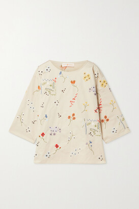 TORY BURCH - Robinson Embellished Cotton-twill Top - Neutrals