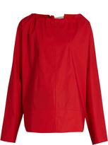 Marni Tie-back coated cotton-poplin blouse