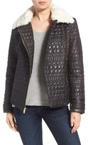Via Spiga Women's Detachable Faux Fur Collar Quilted Moto Jacket
