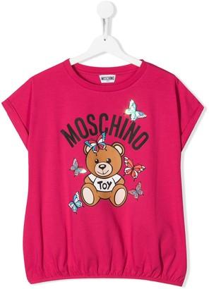 MOSCHINO BAMBINO TEEN logo bear print T-shirt
