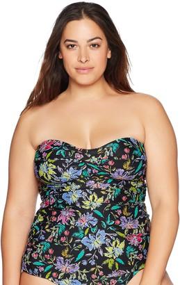 Coastal Women's Plus-Size Twist Front Bandeau Tankini Top Swimwear
