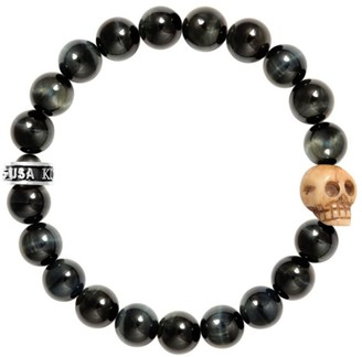 King Baby Studio Tiger Eye Sterling Silver Skull Beaded Bracelet